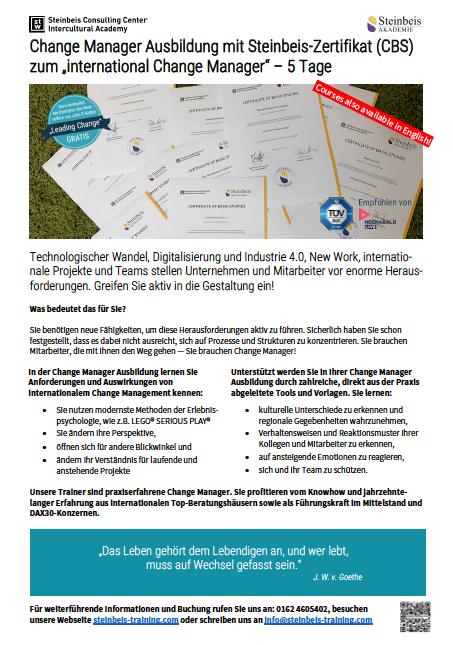 Flyer zur Change Manager Ausbildung mit Steinbeis-Zertifikat