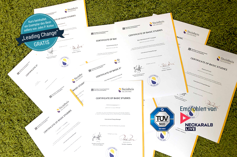 Zertifizierte Ausbildung zum Coach, Change Manager, Lean Manager in Stuttgart mit Steinbeis Zertifikat - Zertifizierung durch die Steinbeis+Akademie Stuttgart München
